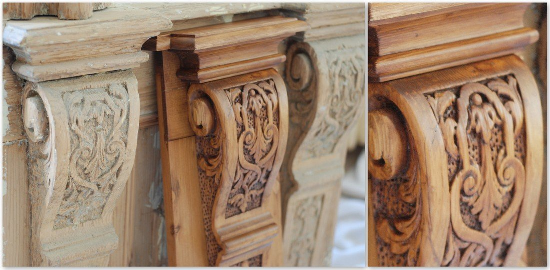 Carved timber elements - wood renovation expert / specialist – old wooden gate, wood renovation company UK
