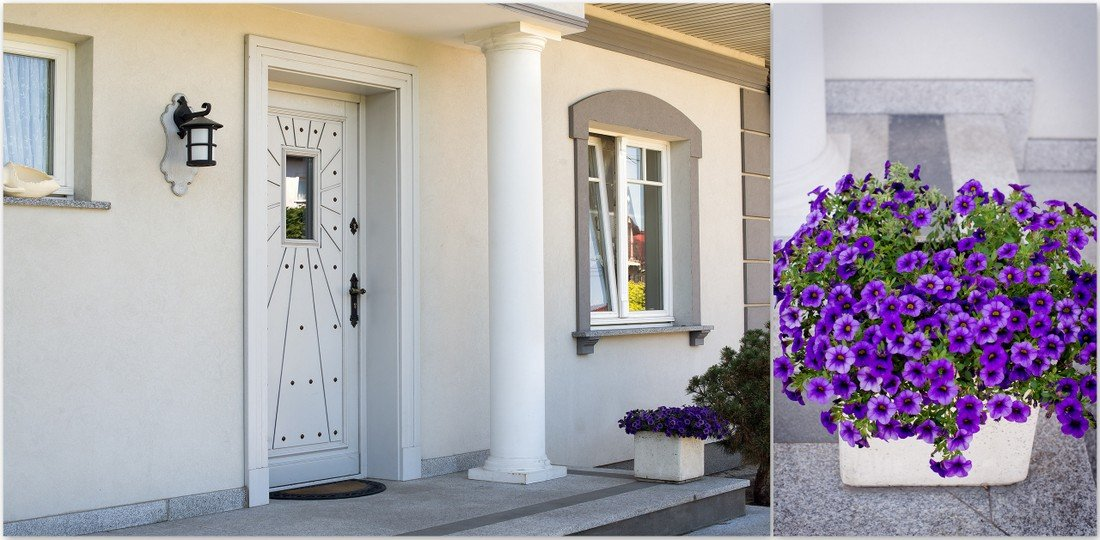 Fitted timber doors to measure - bespoke Provencal excellent wooden windows + flowers