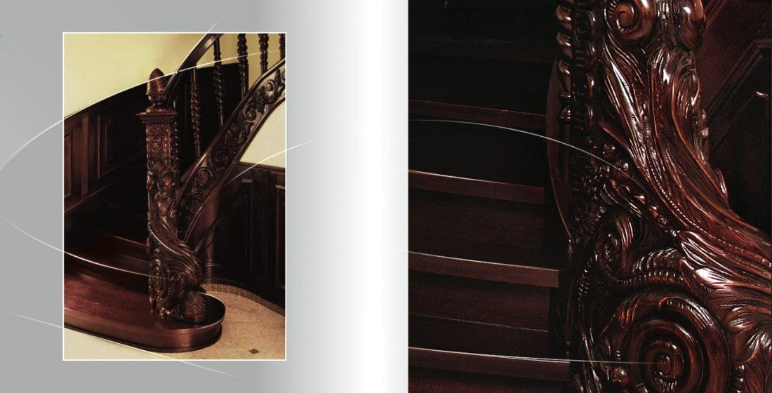 Carved wooden stairs custom-made manufacturer England, Scotland, Wales, Northern Ireland, Ireland