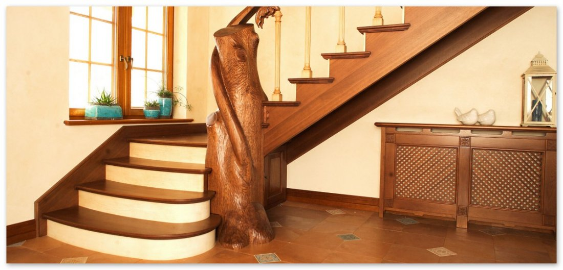 Bespoke luxury timber stairs – fitted oak stairs – made wooden railings caps
