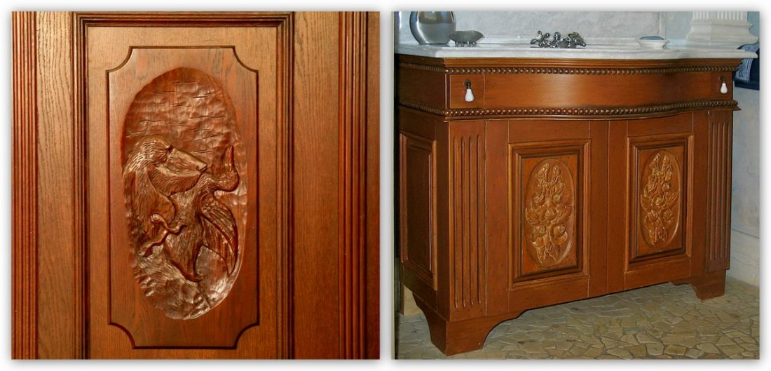 Luxury wooden furniture to measure, custom-made bathroom, bespoke kitchen cabinets, fitted living-room timber furniture, wooden furniture manufacturer UK - carved oak bespoke bathroom cabinet